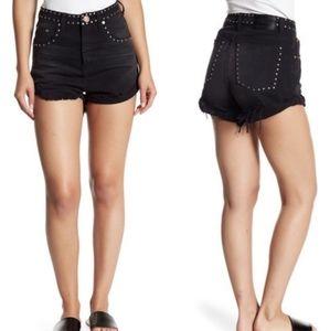 One Teaspoon Studded Fringe Denim Shorts Black 25
